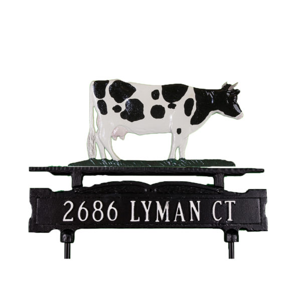 """8.75"""" x 14.75"""" Cast Aluminum One Line Lawn Sign with Cow Ornament"""