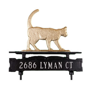 Cast Aluminum One Line Lawn Sign with Cat Ornament