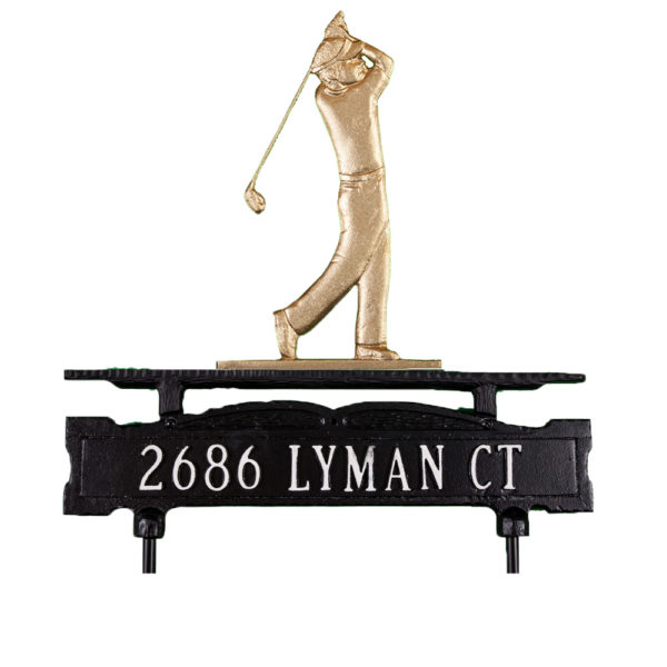 Cast Aluminum One Line Lawn Sign with Golfer Ornament