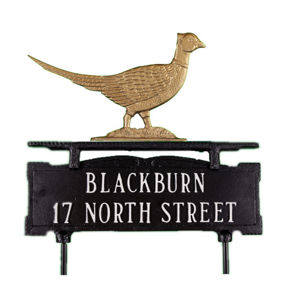 Cast Aluminum Two Line Lawn Sign with Pheasant Ornament