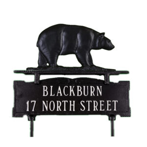 Cast Aluminum Two Line Lawn Sign with Bear Ornament