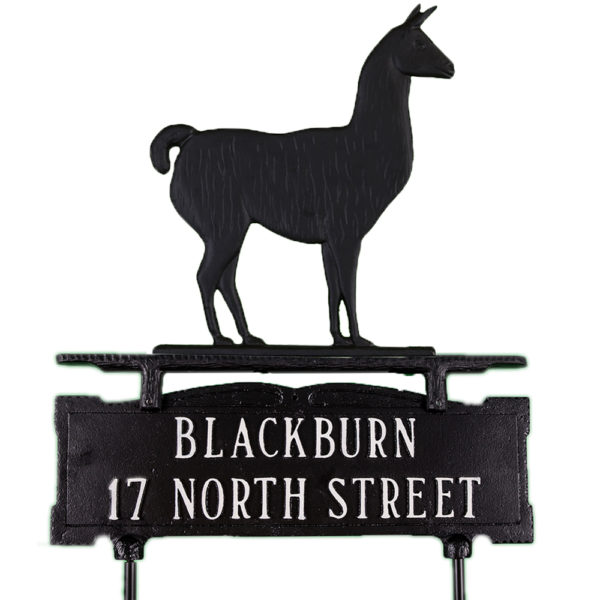 """14.75"""" x 14.75"""" Cast Aluminum Two Line Lawn Sign with Llama Ornament"""