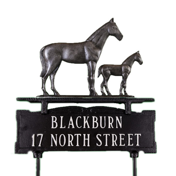Cast Aluminum Two Line Lawn Sign with Mare & Colt Ornament