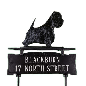 "12.25"" x 14.75"" Cast Aluminum Two Line Lawn Sign with West Highland Terrier Ornament"