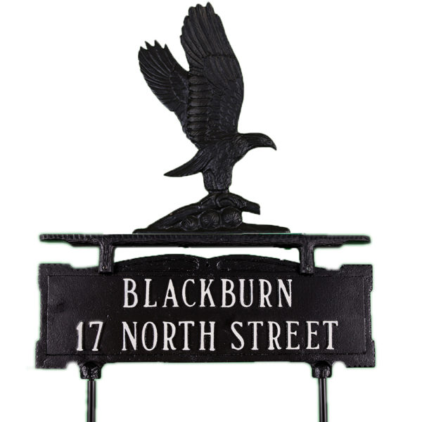 "14.75"" x 14.75"" Cast Aluminum Two Line Lawn Sign with Eagle Ornament"