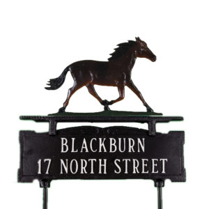 "12.25"" x 14.75"" Cast Aluminum Two Line Lawn Sign with Horse Ornament"