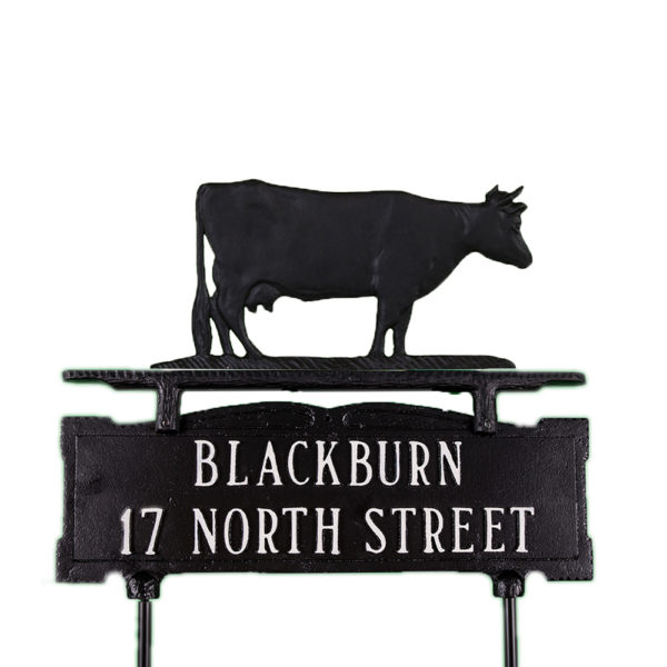 Cast Aluminum Two Line Lawn Sign with Cow Ornament