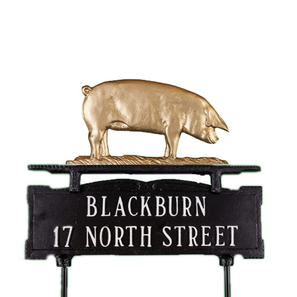 Cast Aluminum Two Line Lawn Sign with Pig Ornament