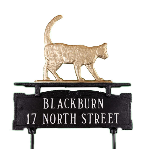 "13.5"" x 14.75"" Cast Aluminum Two Line Lawn Sign with Cat Ornament"