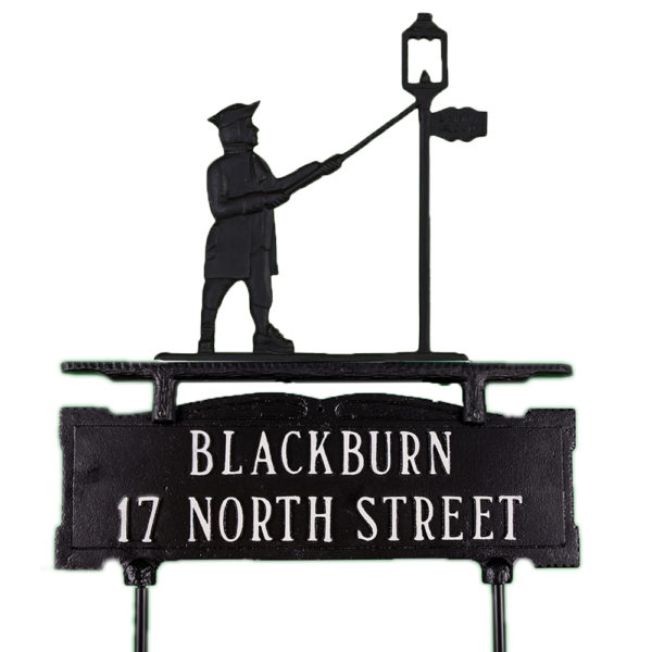 """15.25"""" x 14.75"""" Cast Aluminum Two Line Lawn Sign with Lamplighter Ornament"""