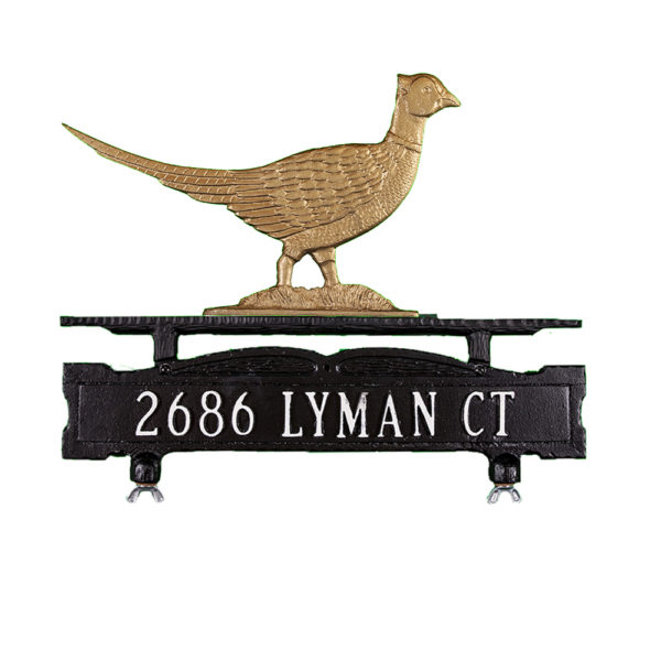 Cast Aluminum One Line Mailbox Sign with Pheasant Ornament