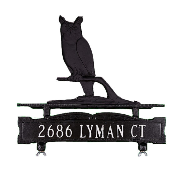Cast Aluminum One Line Mailbox Sign with Owl Ornament
