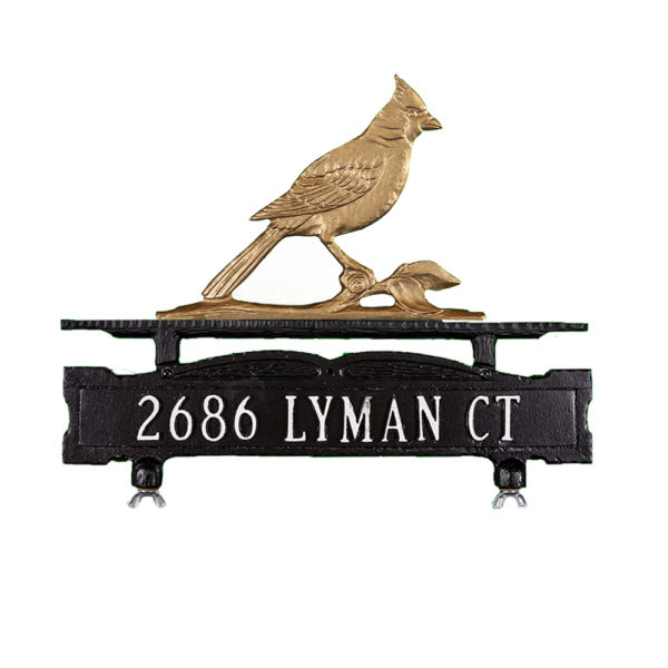 Cast Aluminum One Line Mailbox Sign with Cardinal Ornament