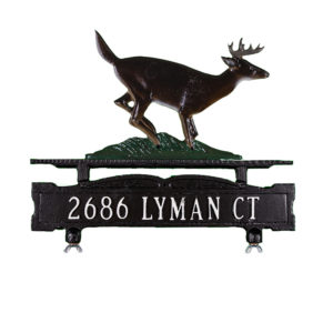 Cast Aluminum One Line Mailbox Sign with Buck Ornament