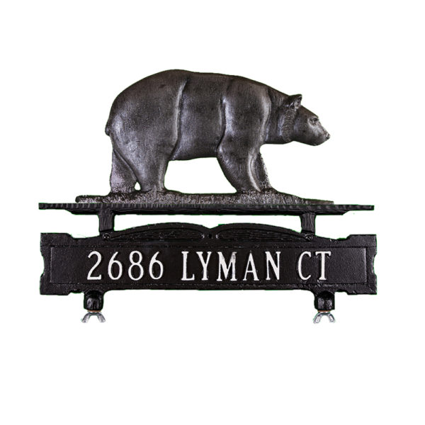 Cast Aluminum One Line Mailbox Sign with Bear Ornament