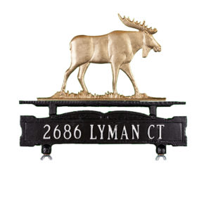 Cast Aluminum One Line Mailbox Sign with Moose Ornament