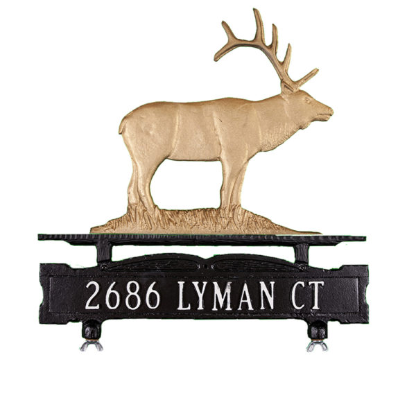 Cast Aluminum One Line Mailbox Sign with Elk Ornament