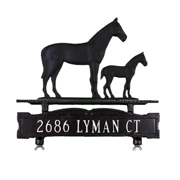 Cast Aluminum One Line Mailbox Sign with Mare & Colt Ornament