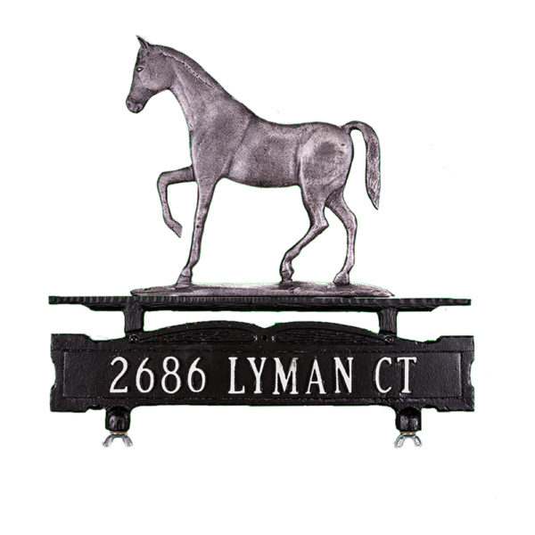 Cast Aluminum One Line Mailbox Sign with Gaited Horse Ornament