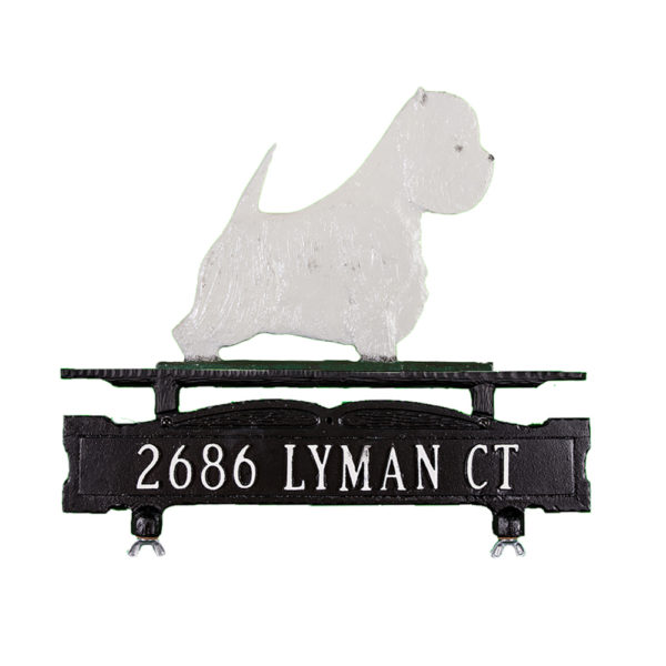 Cast Aluminum One Line Mailbox Sign with West Highland Terrier Ornament