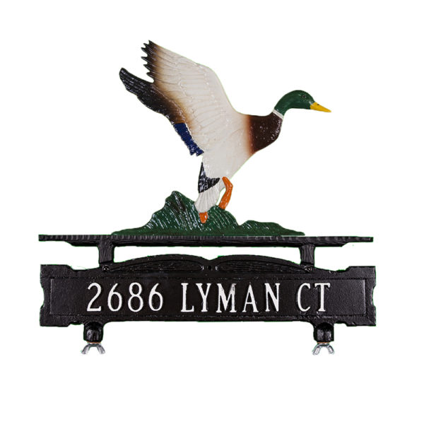 Cast Aluminum One Line Mailbox Sign with Duck Ornament
