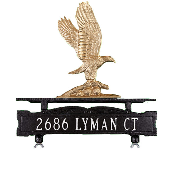 Cast Aluminum One Line Mailbox Sign with Eagle Ornament