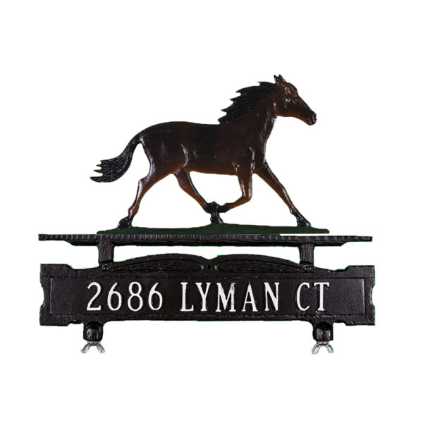 Cast Aluminum One Line Mailbox Sign with Horse Ornament