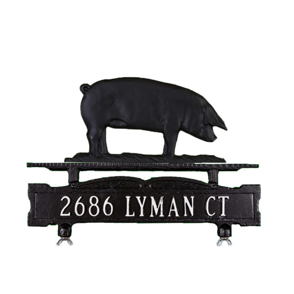 """8.5"""" x 14.75"""" Cast Aluminum One Line Mailbox Sign with Pig Ornament"""