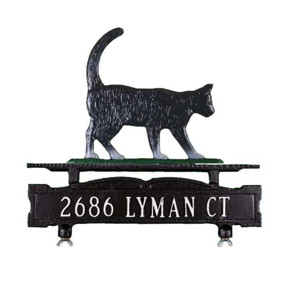 Cast Aluminum One Line Mailbox Sign with Cat Ornament
