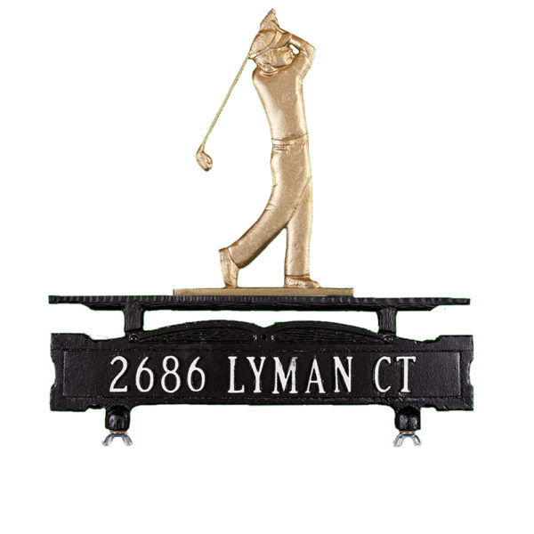 Cast Aluminum One Line Mailbox Sign with Golfer Ornament