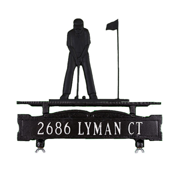 Cast Aluminum One Line Mailbox Sign with Putter Ornament