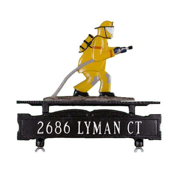 Cast Aluminum One Line Mailbox Sign with Fireman Ornament