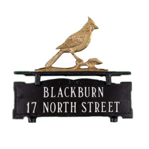 "11.5"" x 14.75"" Cast Aluminum Two Line Mailbox Sign with Cardinal Ornament"