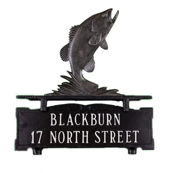 """14"""" x 14.75"""" Cast Aluminum Two Line Mailbox Sign with Bass Ornament"""