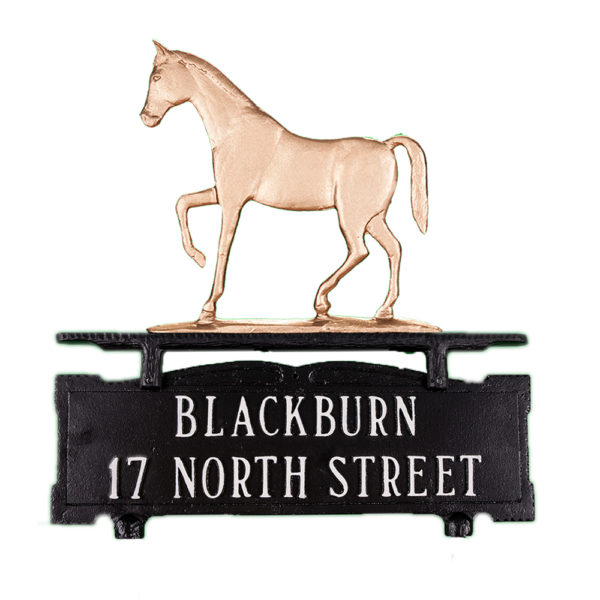 Cast Aluminum Two Line Mailbox Sign with Gaited Horse Ornament