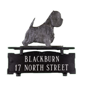 "12.25"" x 14.75"" Cast Aluminum Two Line Mailbox Sign with West Highland Terrier Ornament"