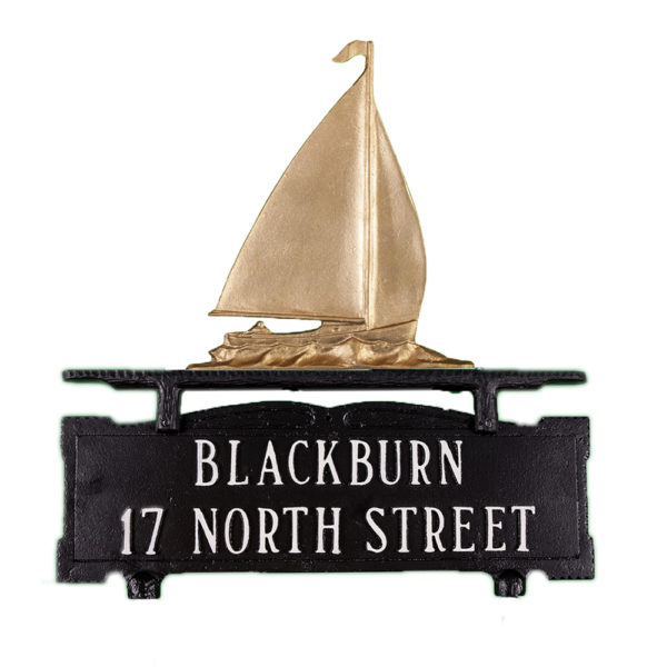 """14.5"""" x 14.75"""" Cast Aluminum Two Line Mailbox Sign with Sailboat Ornament"""