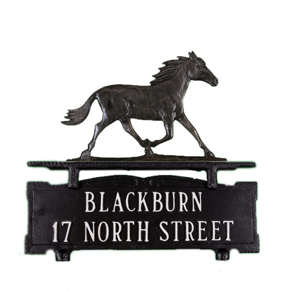 """12.25"""" x 14.75"""" Cast Aluminum Two Line Mailbox Sign with Horse Ornament"""