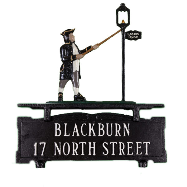 """15.25"""" x 14.75"""" Cast Aluminum Two Line Mailbox Sign with Lamplighter Ornament"""
