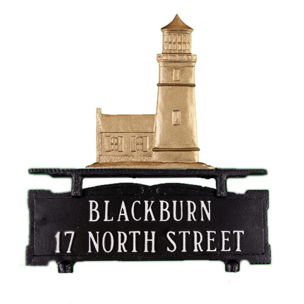 """14.25"""" x 14.75"""" Cast Aluminum Two Line Mailbox Sign with Cottage Lighthouse Ornament"""