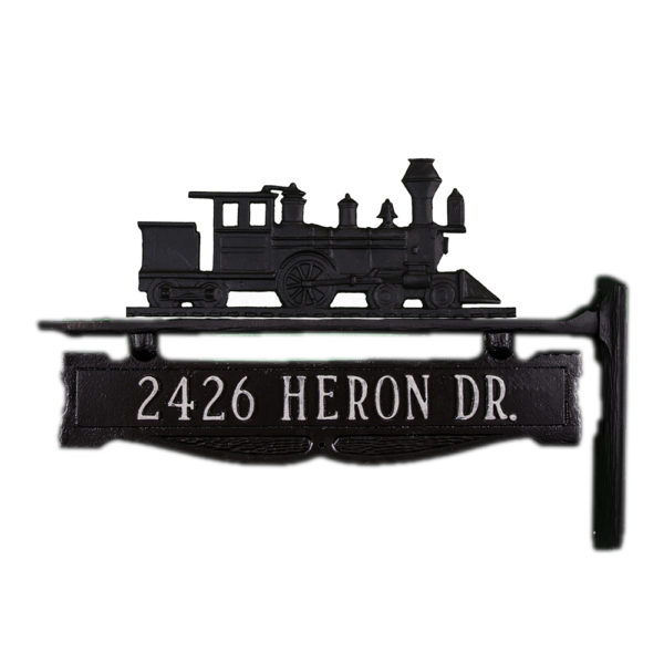 """7.25"""" x 14.75"""" Cast Aluminum One Line Post Sign with Train Ornament"""
