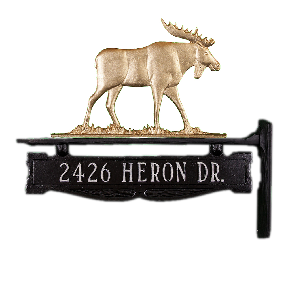"11.25"" x 14.25"" Cast Aluminum One Line Post Sign with Gold Moose Ornament"