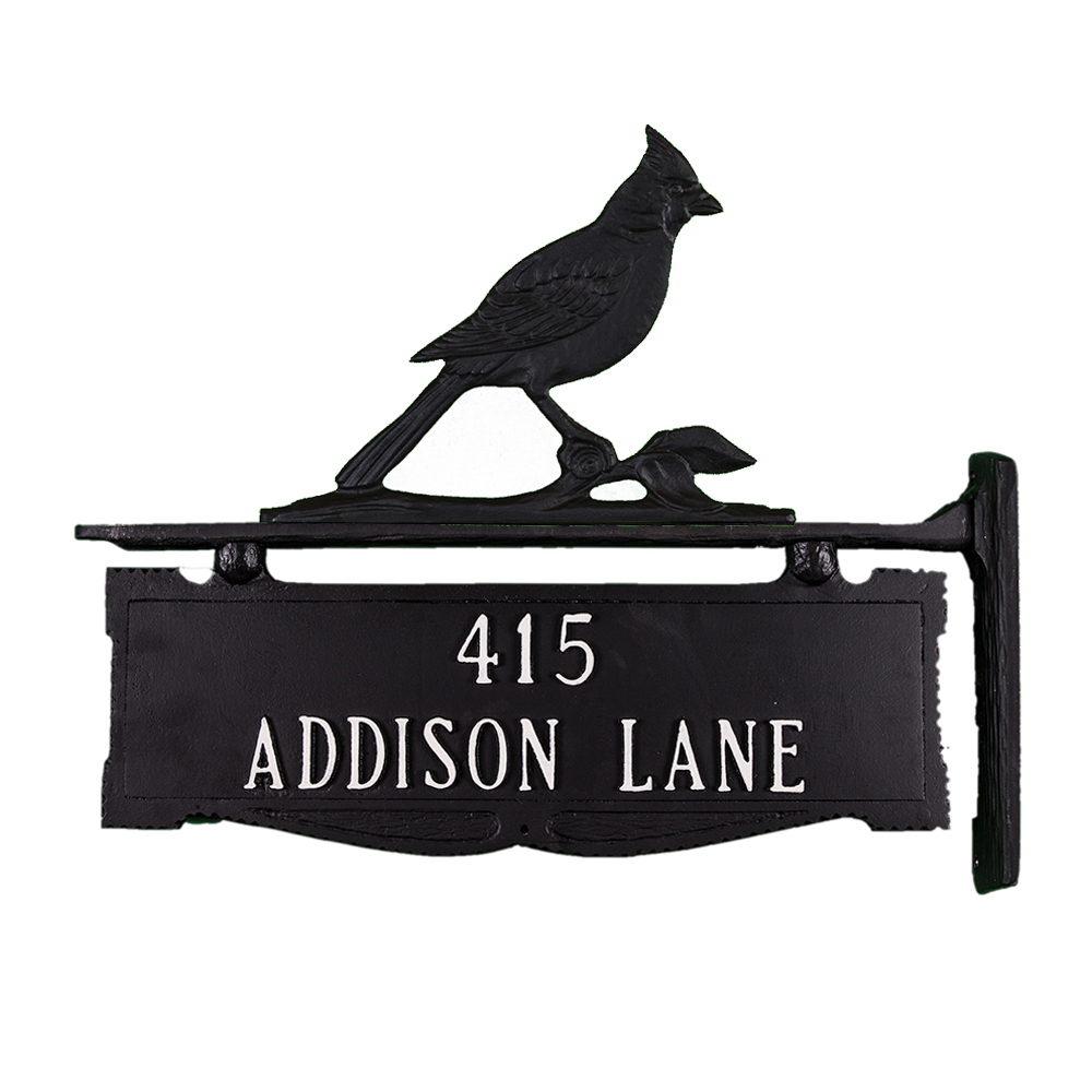 "11.5"" x 14.75"" Cast Aluminum Two Line Post Sign with Cardinal Ornament"