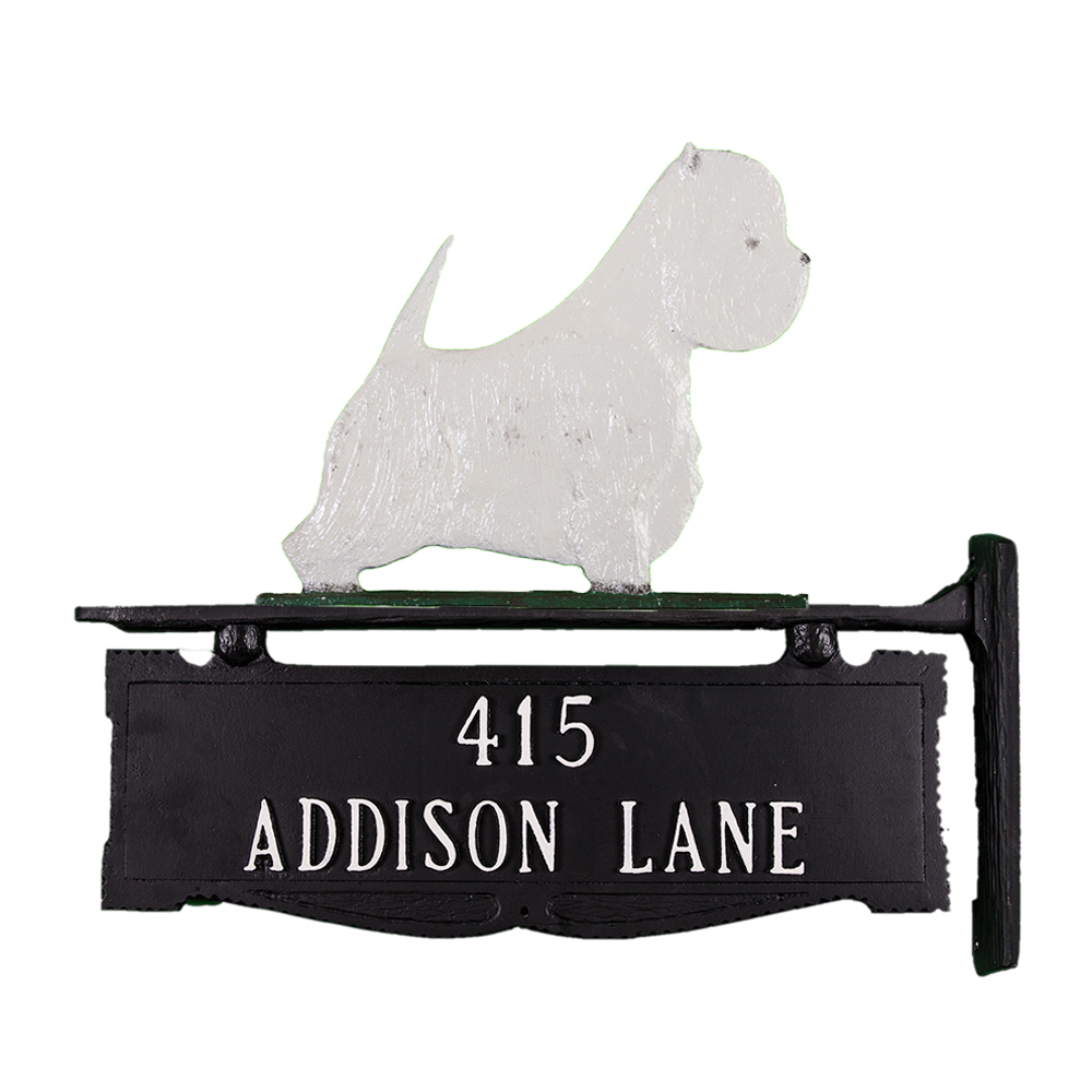 "12.25"" x 14.75"" Cast Aluminum Two Line Post Sign with Gold West Highland Terrier Ornament"