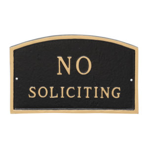 "10"" x 15"" Standard Arch No Soliciting Statement Plaque Sign Black with Gold Lettering"