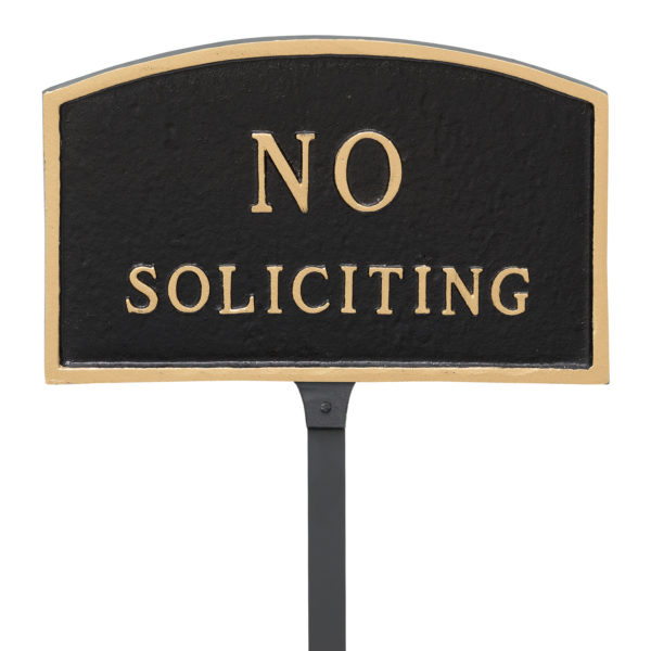 """5.5"""" x 9"""" Small Arch No Soliciting Statement Plaque Sign with 23"""" lawn stake, Black with Gold Lettering"""