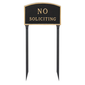 "10"" x 15"" Standard Arch No Soliciting Statement Plaque Sign with 23"" lawn stake, Black with Gold Lettering"