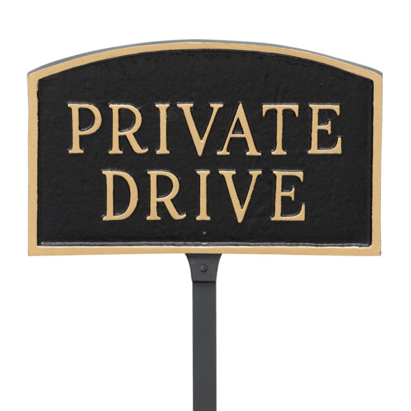 """5.5"""" x 9"""" Small Arch Private Drive Statement Plaque Sign with 23"""" lawn stake, Black with Gold Lettering"""