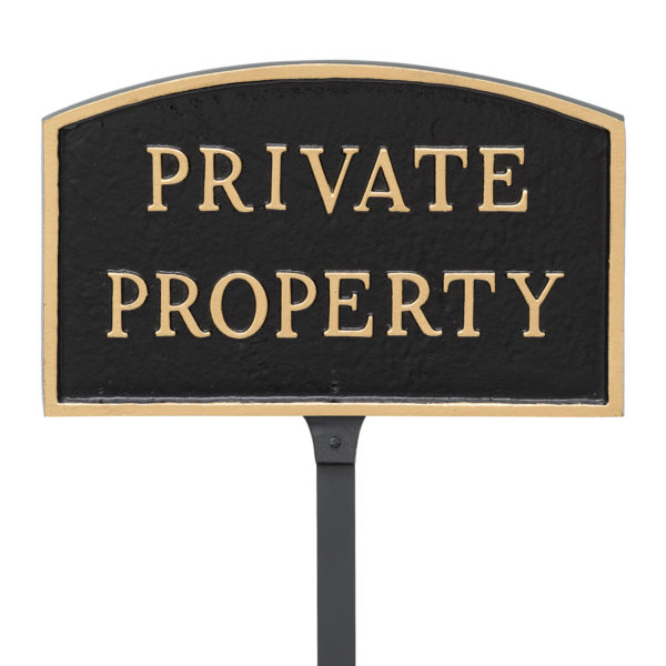 """5.5"""" x 9"""" Small Arch Private Property Statement Plaque Sign with 23"""" lawn stake, Black with Gold Lettering"""