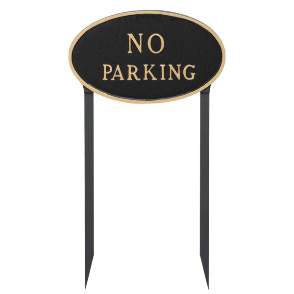 "10"" x 18"" Large Oval No Parking Statement Plaque Sign with 23"" lawn stake"